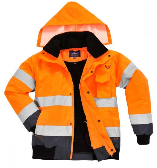 C465 Orange/Navy Hi-Vis Contrast Bomber Jacket