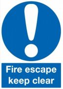 Safety Sign Fire Escape Keep Clear 200 x 150mm Self Adhesive Vinyl