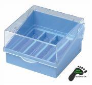 Camlab Plastics Microscope Slide Box, Blue holds 100 slides 76x26mm from Camlab
