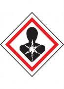 GHS-08 Health Hazard Specific Target Organ Toxicity label, 100mm x 100mm, self adhesive vinyl