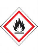 GHS-02 Flammable labels, 50mm x 50mm, roll of 250 labels