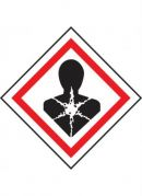 GHS-08 Health Hazard Specific Target Organ Toxicity labels, 50mm x 50mm, roll of 250 labels