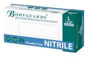Bodyguards Blue Powder Free Nitrile Gloves AQL 1.5 case of 10 x 100-camlab