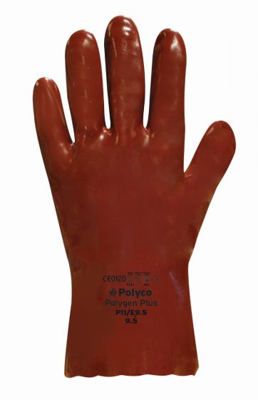 "GT303 14"" Red Chemical Resistant PVC Gauntlet  9.5 - Pack of 10 Pairs"