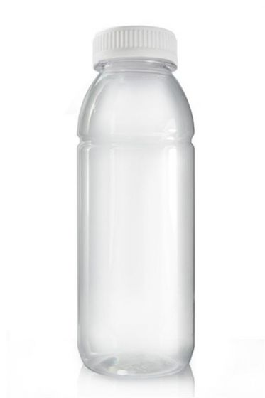 330ml PET Clear Plastic Juice Bottle with White Tamper Evident Screw Cap Pack of 500