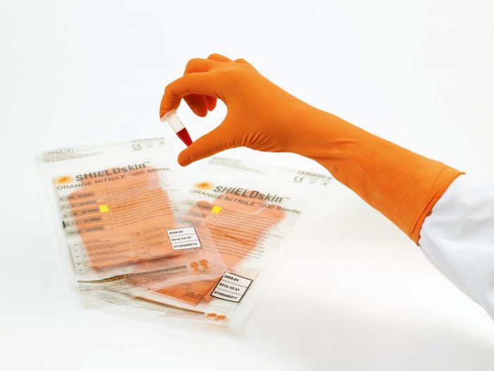 SHIELDskin Orange 300 Sterile Individually Wrapped Nitrile Powder Free Gloves - 20 Pairs x 8