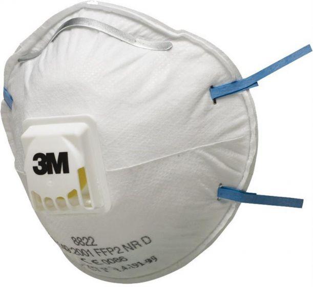 3M 8822 FFP2 Valved Dust/Mist Respirator Pack of 5 X 8 (total 40)-8822SP-Camlab