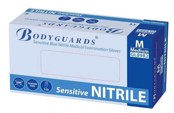 Bodyguards Blue Sensitive 6 Newton Nitrile Powder Free Gloves AQL 1.5