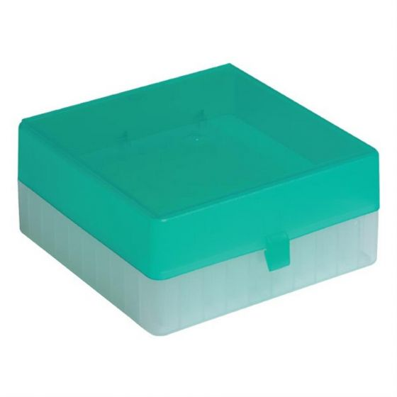100 Place Freezer Box Green with Hinged Lid & Stick on Grid for 0.5-2ml Tubes-RTP/72101-GI-Camlab