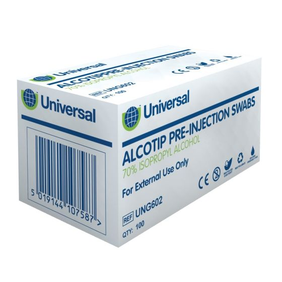 Alcotip Pre-Injection Swabs - 70% Isopropyl Alcohol - Pack of 100