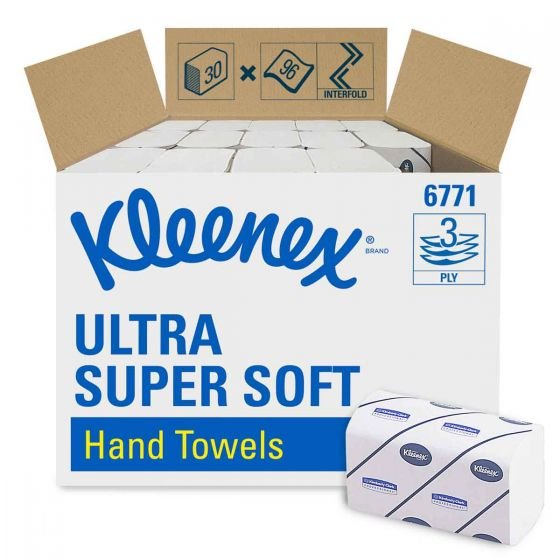 6771 KLEENEX  ULTRA SUPER SOFT Hand Towels - Interfolded/Medium - White - 30 x 96 Sheets