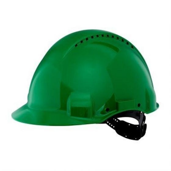 PELTOR Helmet G3000 with Uvicator Sensor Std. suspension plastic sweatband Vented green Pack of 20