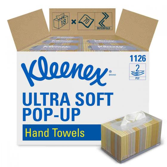 1126 KLEENEX  ULTRA SOFT POP-UP Hand Towels - White - 18 x 70 Sheets