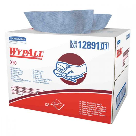 12891 WYPALL X90 Cloths - BRAG Box - Blue - 136 Sheets