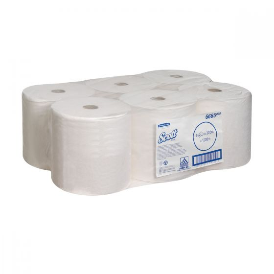 6665 SCOTT  PERFORMANCE Hand Towels - White - 6 Rolls x 1 Sheet
