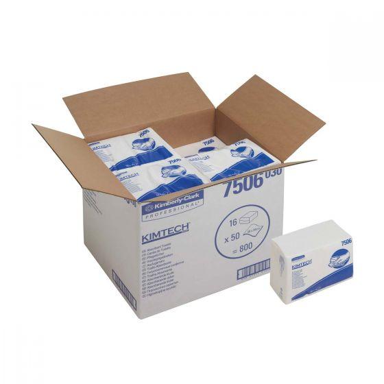 7506 KIMTECH Absorbent Towels - Z Fold - White - 16 x 50 Sheets