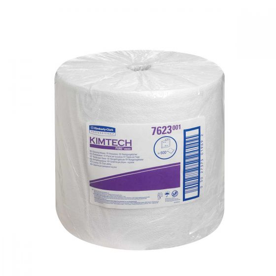 7623 KIMTECH PURE Cleaning Wipers - Large Roll - White - 600 Sheets