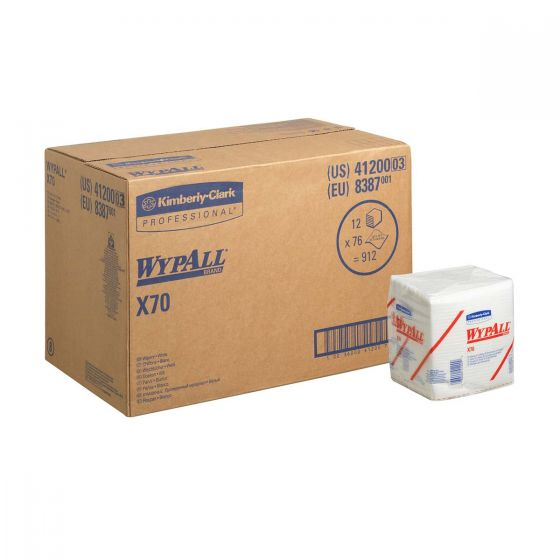 8387 WYPALL X70 Cloths - 1/4 Fold - White - 12 x 76 Sheets