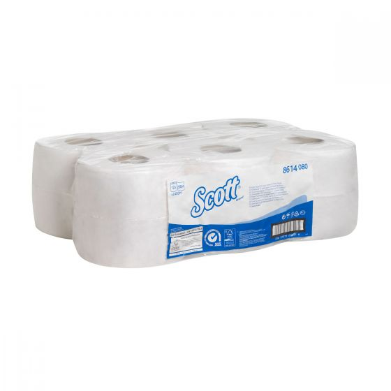 8614 SCOTT  Toilet Tissue - Jumbo Roll/200 M/76 - White - 12 x 500 Sheets