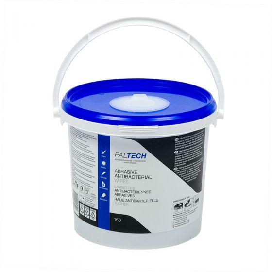 W801230PT Pal Tech Abrasive Antibacterial Wipes -  4 x 150 Large Sheet Buckets