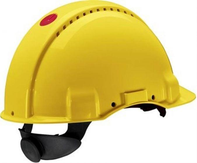 PELTOR Helmet G3000 with Uvicator Sensor ratchet Susp sweatband no ventilation yellow Pack of 20-camlab