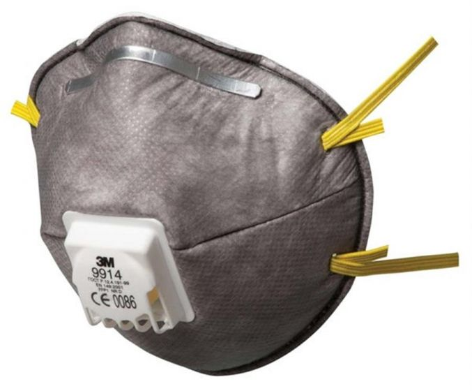 3M 9914 FFP1 Cup-Shaped Valved Dust/Mist/Nuisance Odour Respirator FFP1 - Pack of 10 x 10 (100 Total)-camlab