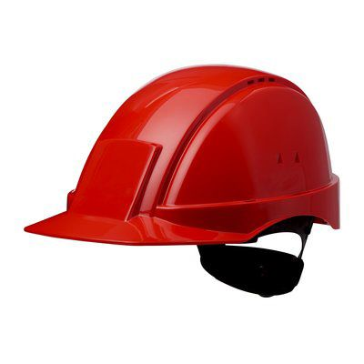 PELTOR Helmet G2000 with Uvicator Sensor Std. suspension plastic sweatband Vented red Pack of 20