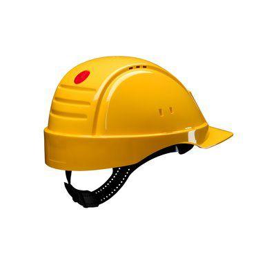 PELTOR Helmet G2000 with Uvicator Sensor ratchet Susp plastic sweatband Vented yellow Pack of 20
