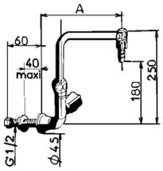 Skirting mounted cold water swan neck tap 150mm-4764-Camlab
