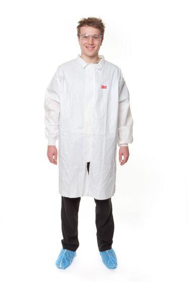 3M 4440 White Lab Coats - Zip Fastener - Pack of 50