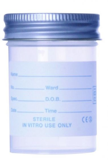 60ml Polystyrene Sterile Container with Printed Label and Metal Cap - Pack of 300