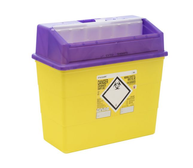 FM4180PL 30L Sharpsafe® sharps container with Purple Lid