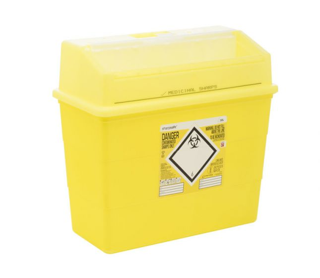 FM4180YL 30L Sharpsafe® sharps container with Yellow Lid
