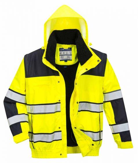 C466 Yellow/Black Hi-Vis Bomber Jacket