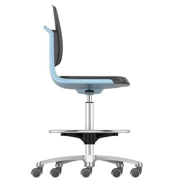 Labsit 4 with PU foam, blue seat shell, polished aluminium base, stop/go castors