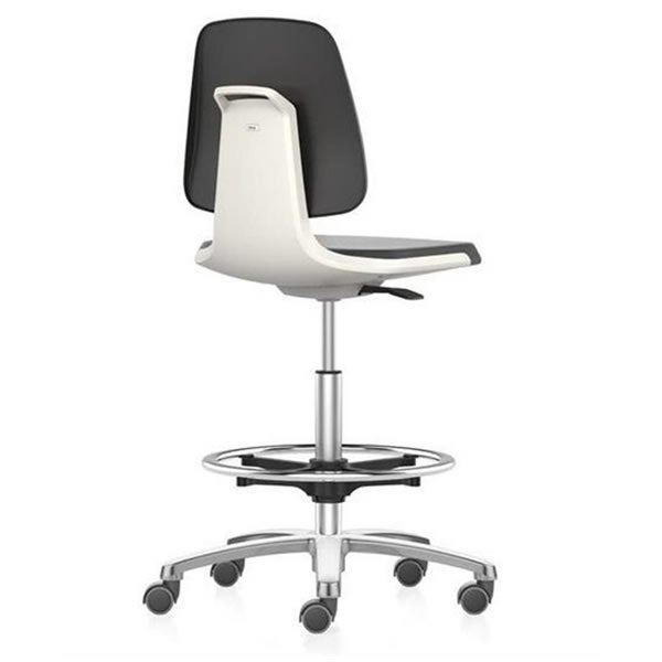 Labsit 4 with PU-foam, white seat shell, polished aluminium base, stop/go castors and foot ring